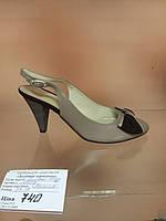Летние туфли натуральная кожа кофейные с замшевым бантом