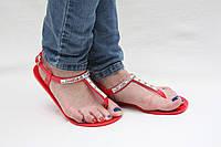 Босоножки красные без каблука силиконовые, фото 1