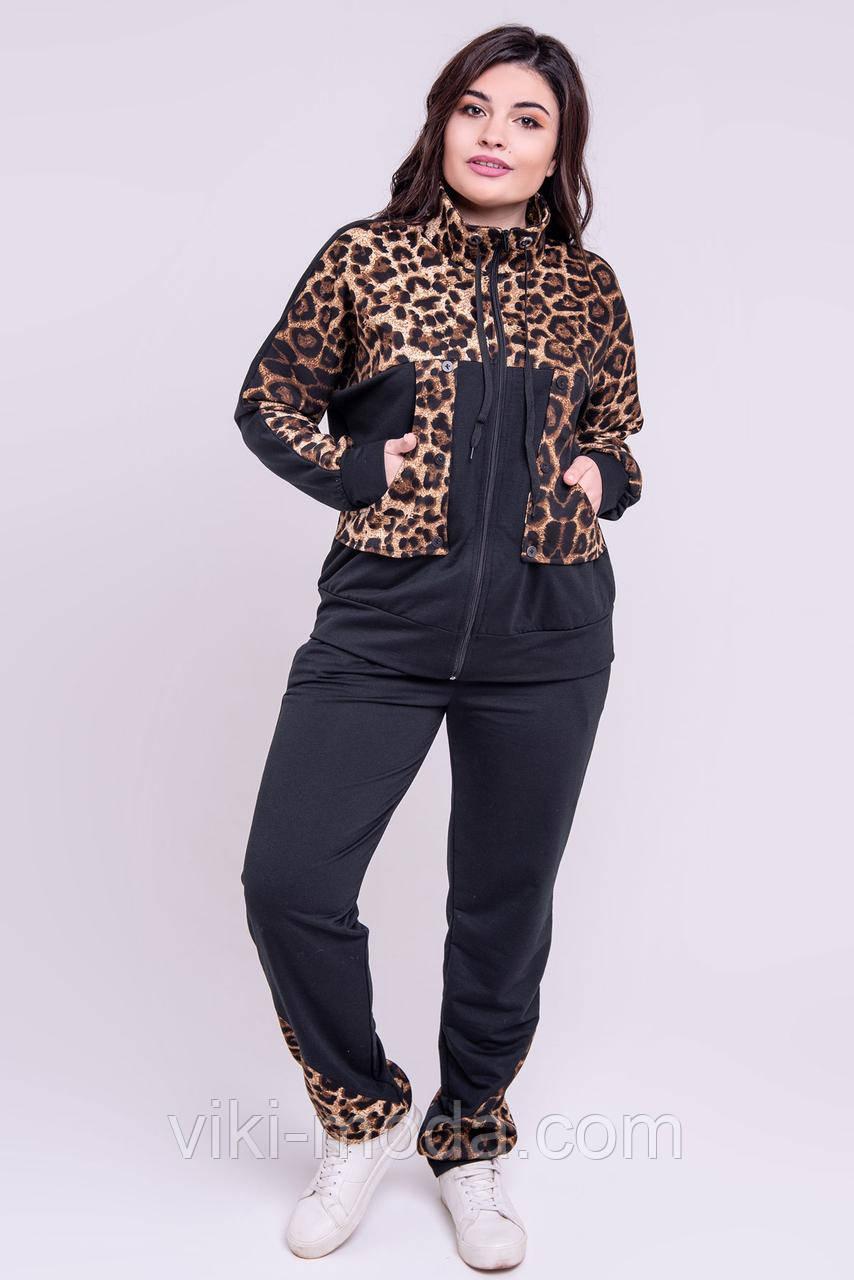 Спортивный костюм большого размера Амалия, комбинированный с леопардом. Черного цвета.