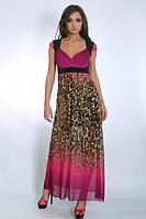 Вечерний  женский сарафан с тигровым принтом модного кроя