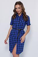 Летнее платье рубашка на пуговицах в клеткус коротким рукавом синее