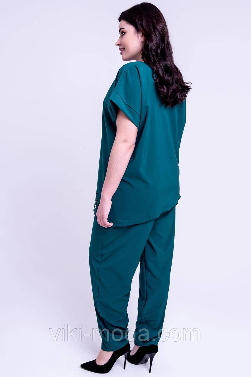 29597105 Женский летний штапельный костюм большого размера Синти. Цвет зеленый, ...