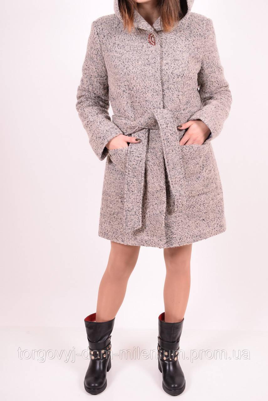 Полупальто женское шерстяное букле  (цв.св/коричневый) Алена Размер:40,44