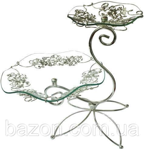 Фруктовниця Flowers 2-х ярусна декоративна 30х20см