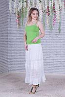 Легка жіноча літня ажурна батистова біла спідниця №156