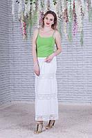 Легка жіноча літня ажурна батистова біла спідниця №42
