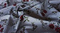 Рубашечная ткань в полоску с цветами