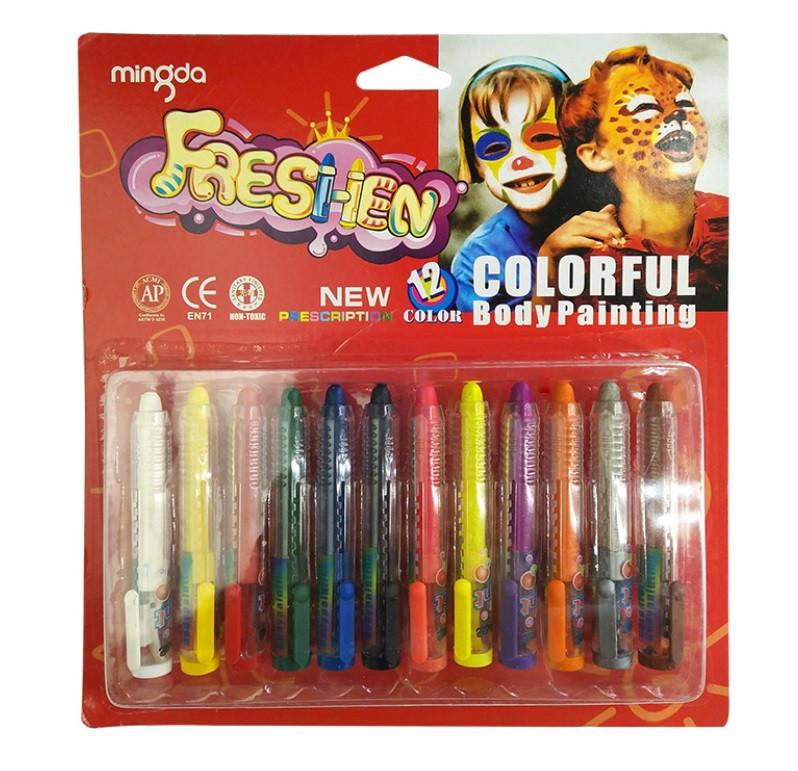 Набір для дитячого гриму MINGDA Freshen Colorful Body Painting фарби для обличчя 12 кольорів (SUN4104)
