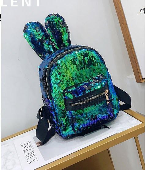 Стильный городской рюкзак с пайетками и ушками Зайца Хамелеон