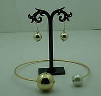 Золотистый комплект бижутерии Диор колье с сережками. Бижутерия оптом. 174