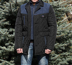 Стеганная мужская курткам удлиненная весна осень