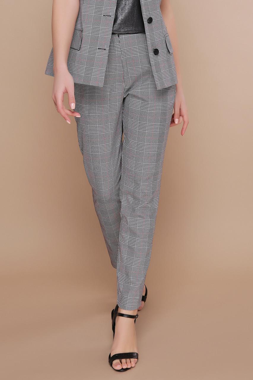 Серые классические женские брюки в клетку зауженные Бенжи К