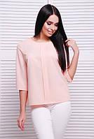 Нарядная персиковая блузка женская прямого свободного кроя
