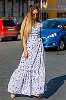 Платье длинное цветочный принт