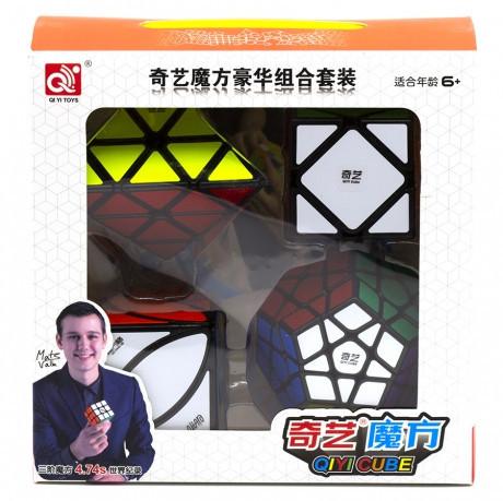Набор головоломок кубиков Рубика 4 в 1 QiYi MoFangGe Черный