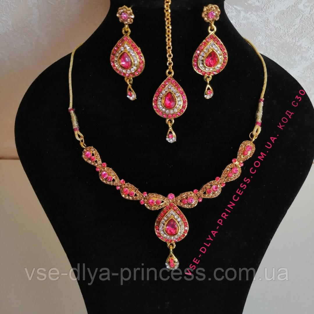 Индийский комплект колье, тика, серьги к сари под золото с розовыми камнями
