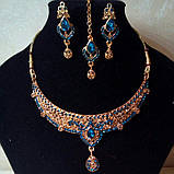 Индийский комплект колье, тика, серьги к сари под золото с розовыми камнями, фото 6