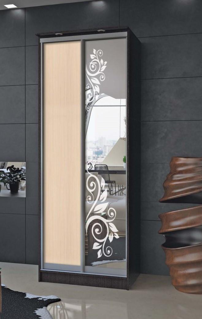 Шафа-купе з художнім матуванням на дзеркалі
