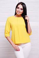 Весенняя блуза женская прямого свободного кроя на каждый день желтая