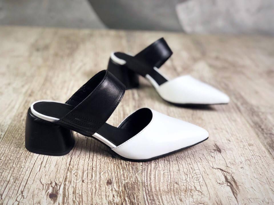 427da99f4 Весенние стильные туфли из натуральной кожи низкий широкий каблук открытая  пятка острый закрытый носок -