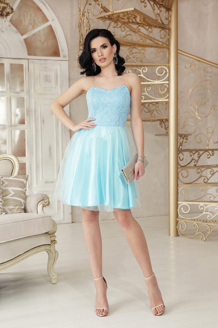 Вечернее платье мини пышная юбка без рукав на бретельках цвет голубой