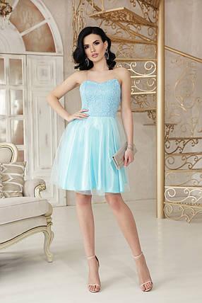 Вечернее платье мини пышная юбка без рукав на бретельках цвет голубой, фото 2