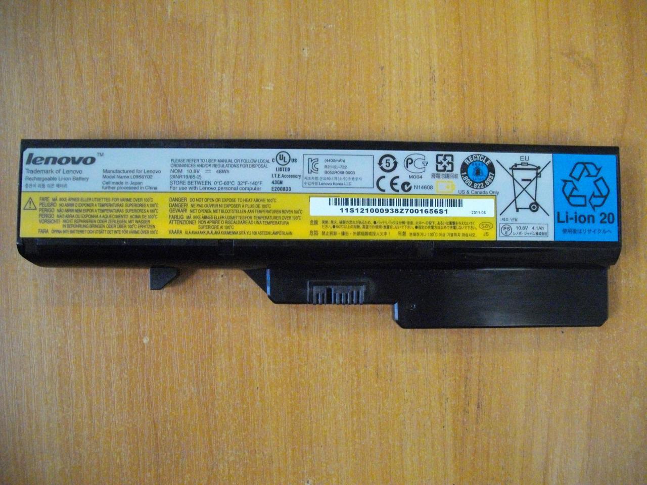 АКБ Батарея Аккумулятор Оригинальная L09S6Y02 Lenovo G565 БУ