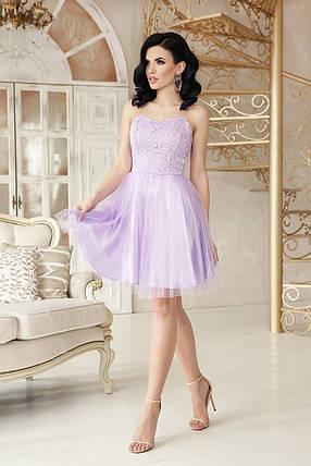 Нарядное платье короткое пышная юбка без рукав на бретельках цвет лавандовый, фото 2