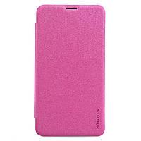 Кожаный чехол книжка Nillkin Sparkle для Microsoft Lumia 640 розовый, фото 1