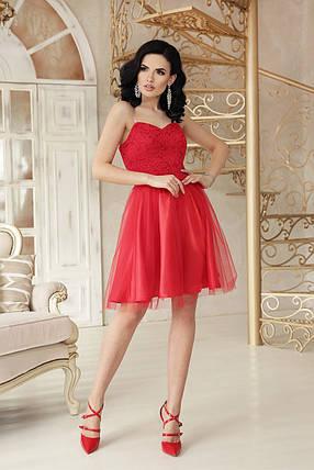 Модное платье выше колен пышная юбка без рукав на бретелях красного цвета, фото 2