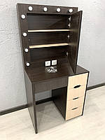 Визажный стол c открывающимся зеркалом и ящиком органайзером, с подсветкой V385