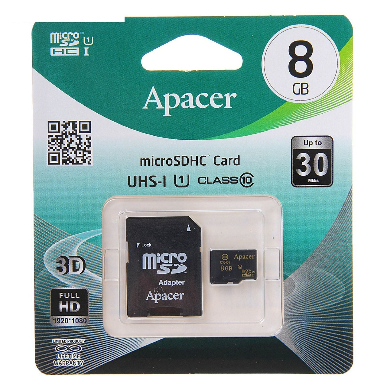 Карта памяти Apacer MicroSDHC 8GB Class 10 + SD-adapter