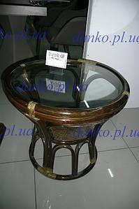 Круглый журнальный стол 0509 натуральный ротанг + стекло D54*52 см