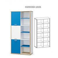 Книжный Шкаф Лео дуб самоа, белый/зеленый (Мебель Сервис)