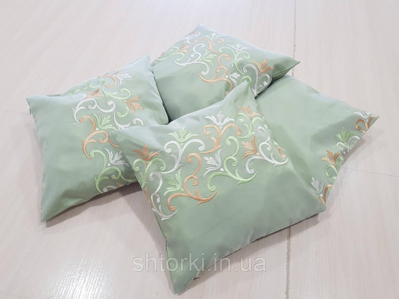 Комплект подушек оливковые с узором, 4шт