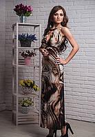 Стильный женский сарафан модного кроя  с интересным принтом
