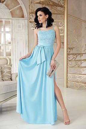 Шелковое платье в пол юбка солнце клеш без рукав голубого цвета, фото 2