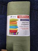 """Простынь на резинке оливковая ранфорс """"Тиротекс"""", фото 1"""