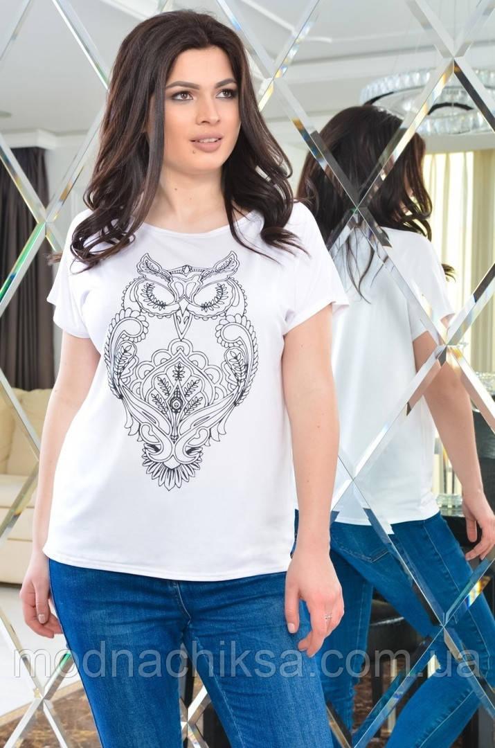 Женская футболка с рисунокм 48-54