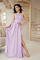 Вечернее платье в пол юбка солнце клеш без рукав лавандового цвета