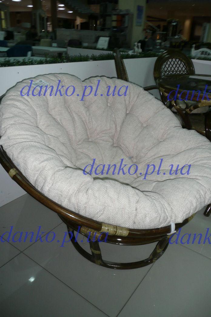 Плетеное кресло Папасан 2301 из натурального ротанга с мягкой подушкой