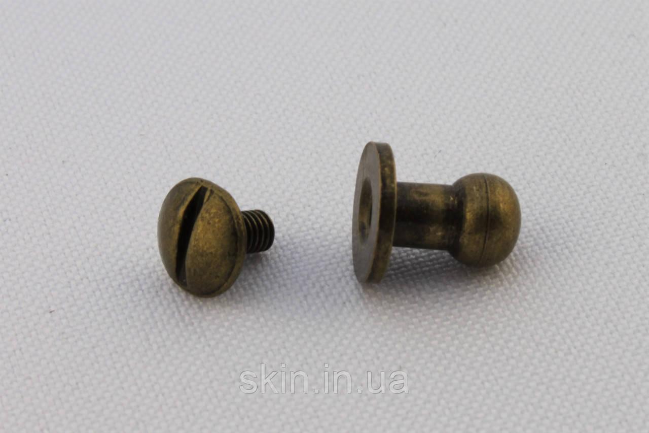 Винт кобурной точёный, высота ножки - 9 мм, диаметр шляпки - 6 мм, цвет - антик, артикул СК 5025