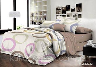 Двоспальний комплект з простирадлом на резинці 180х200х18 «Різнокольорові колечка» з ранфорсу