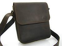 Мужская кожаная сумка темно- коричневого цвета с ремнем через плечо GS