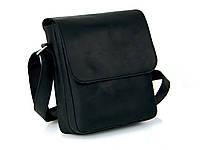 Мужская кожаная сумка черного цвета с ремнем через плечо GS Черный