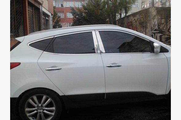 Молдинг дверных стоек (8 шт, нерж.) Hyundai IX-35 2010-2015 гг.
