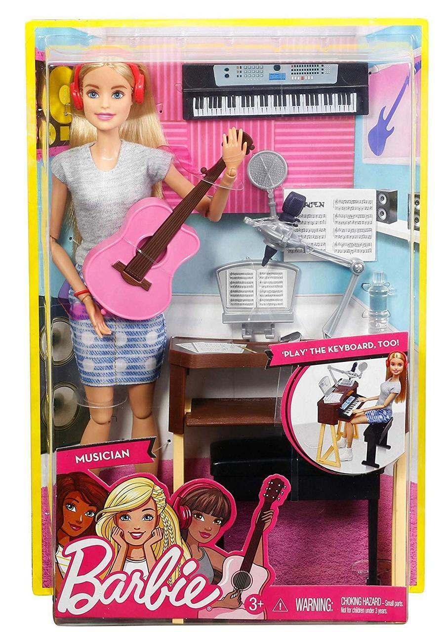 Кукла Барби рок-музыкант с гитарой и пианино Шарнирная Barbie Musician