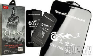 "5D Premium стекло ""King Fire Tech"" для iPhone ХS MAX (Черное) Без упаковки"