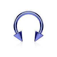 Серьга-циркуляр с шипами синяя 13