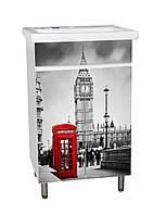 Тумба для ванной комнаты с рисунком Лондон-3 Т-1 под умывальник Комо 50 см